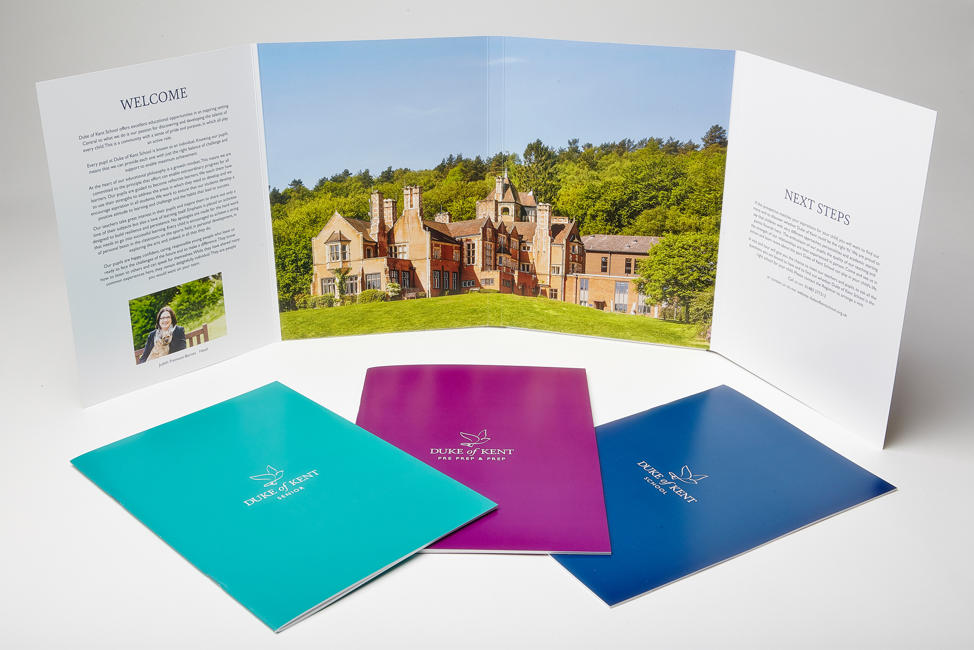 Duke Of Kent School brand logo Prospectus layout