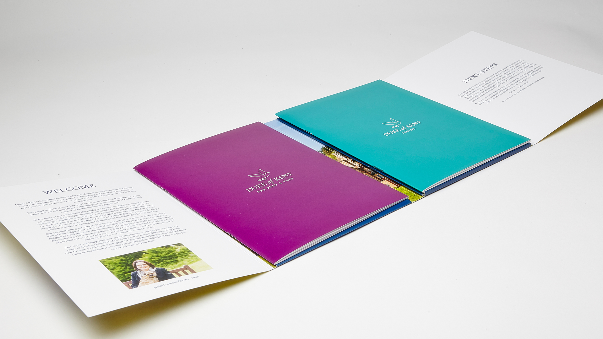 Duke Of Kent School prospectus open showing prospectuses