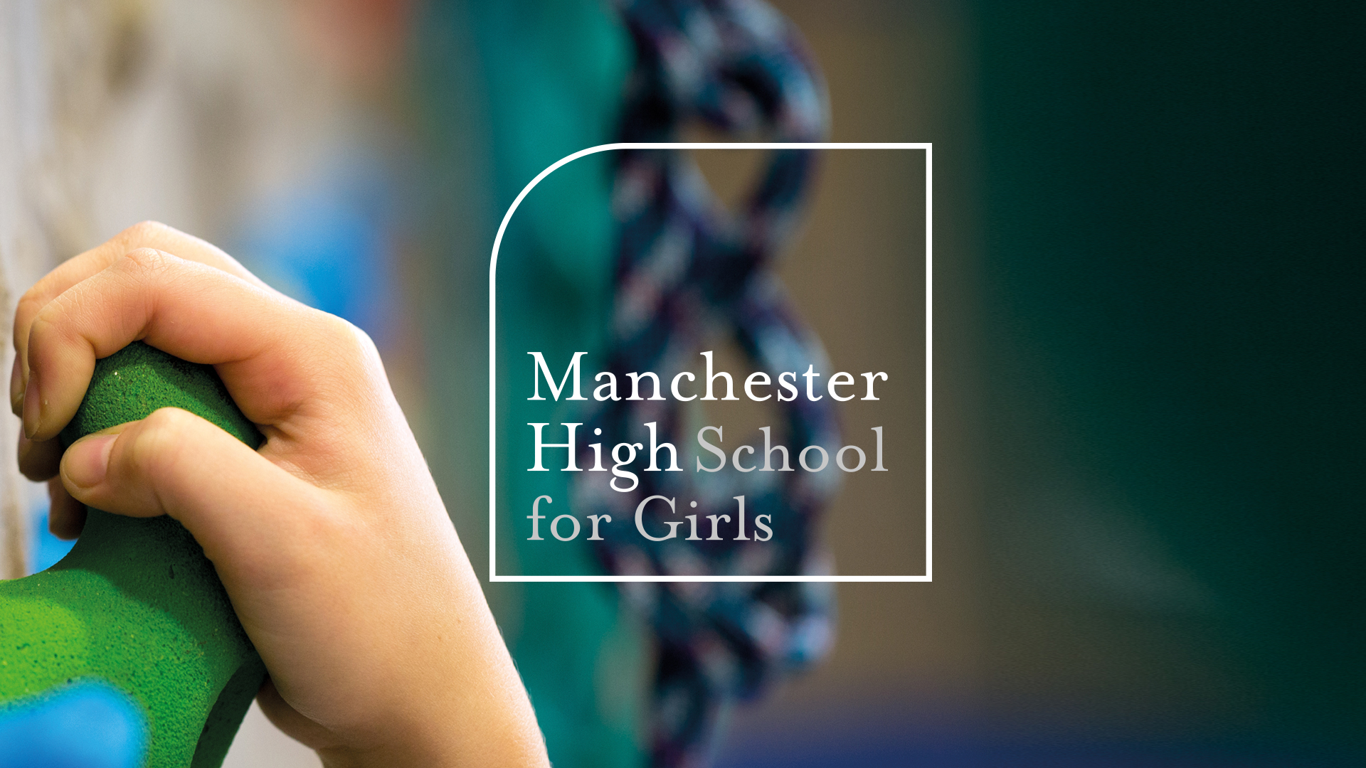 Manchester High School For Girls brand logo rock-climbing photography