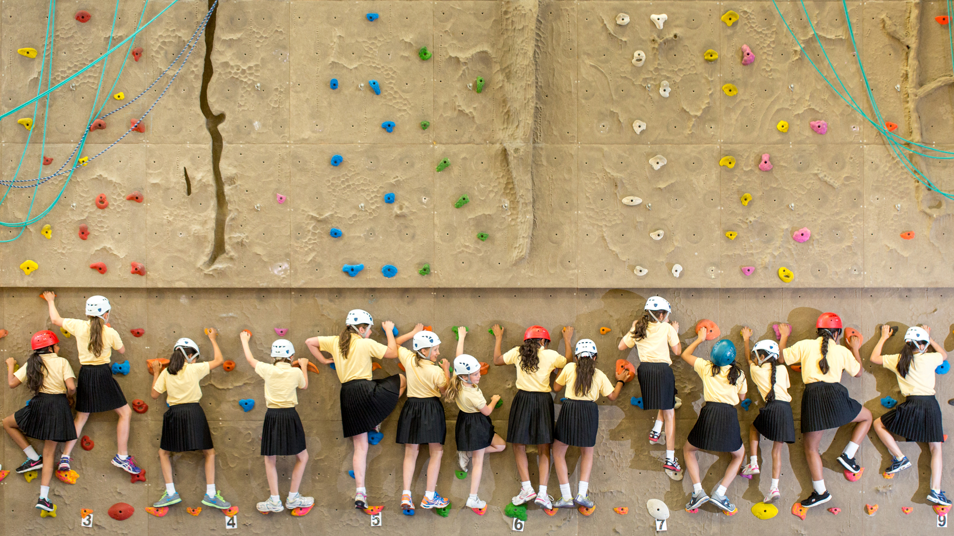Manchester High School For Girls students rock-climbing photography