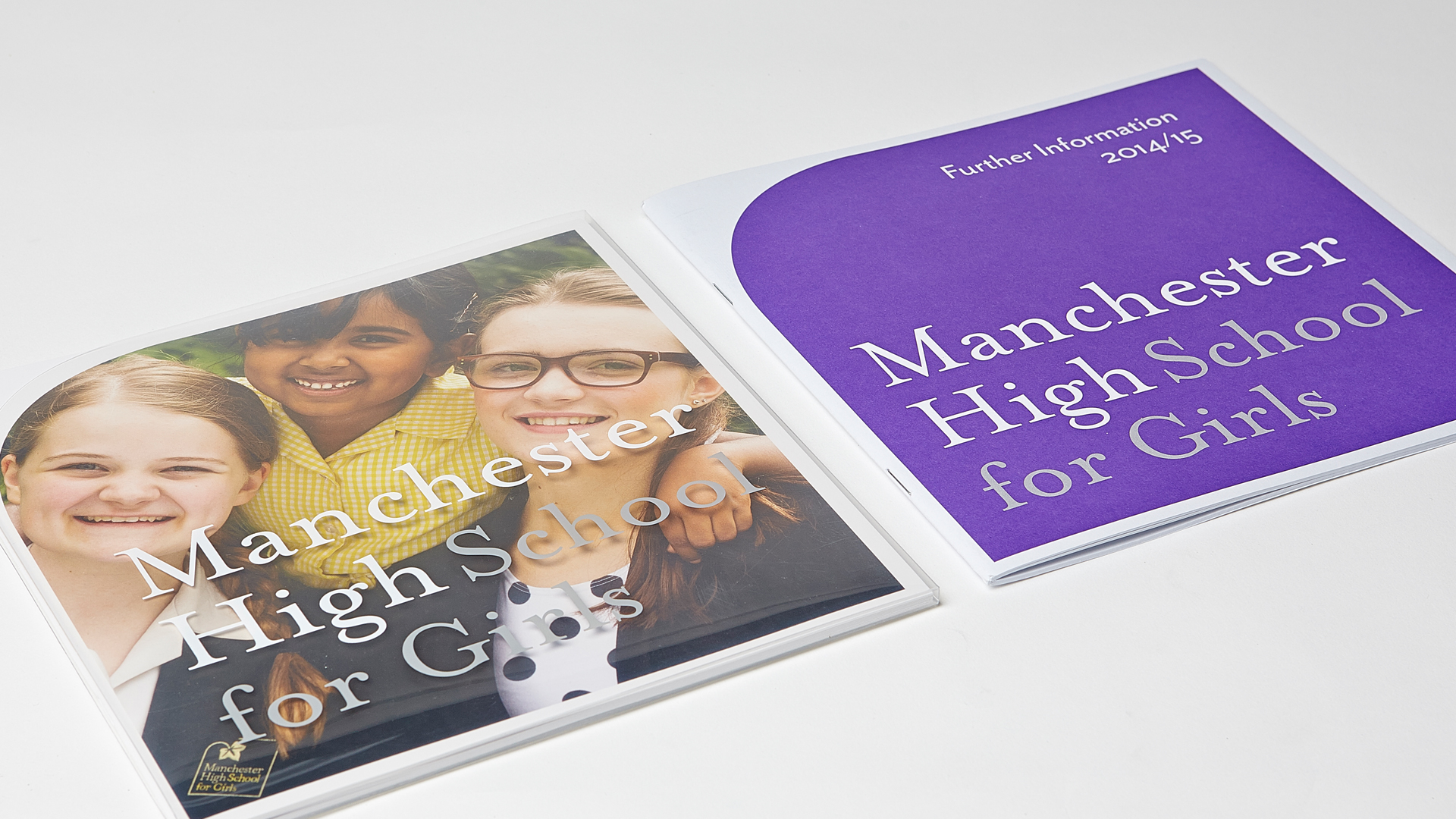 Manchester High School For Girls prospectus sleeve cover blue