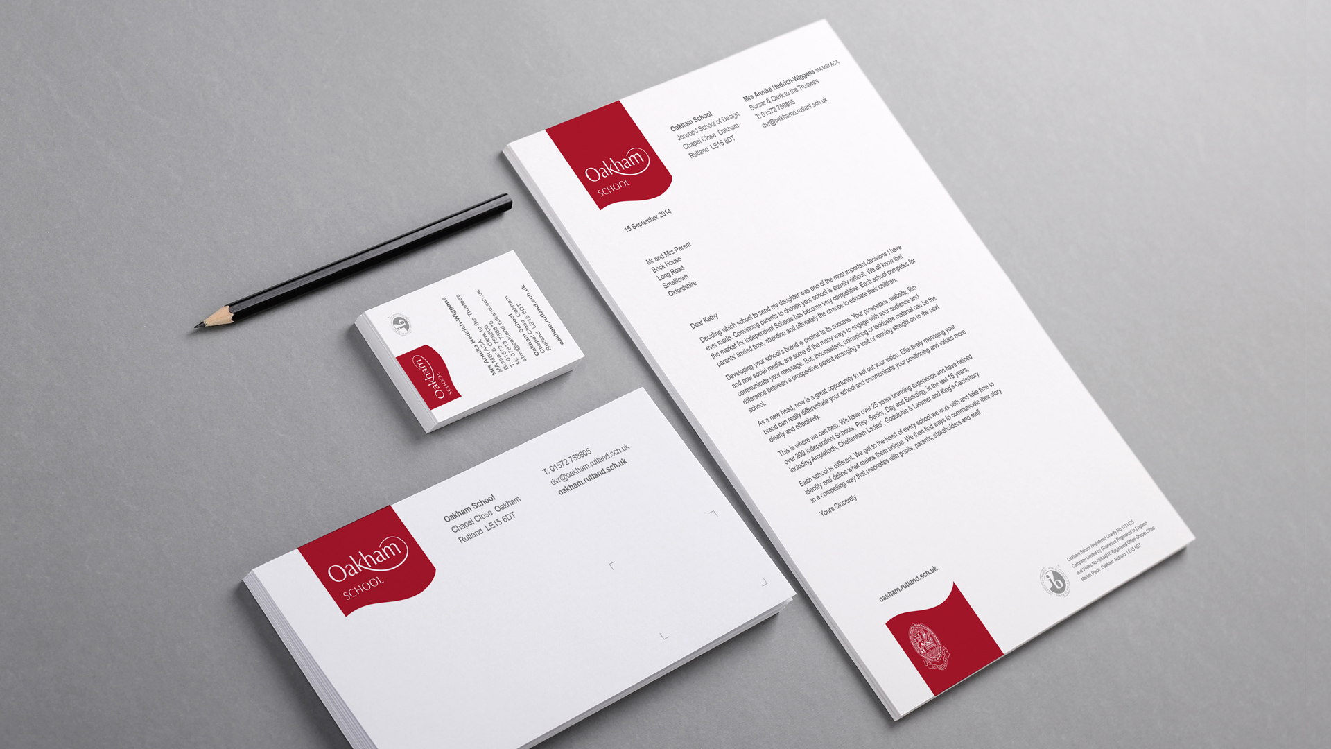 Oakham School branding stationary set