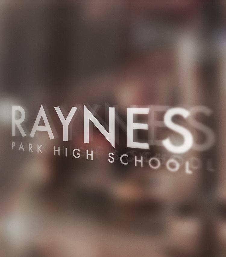 Raynes_High_School_Logo_Branding_Glass_Door
